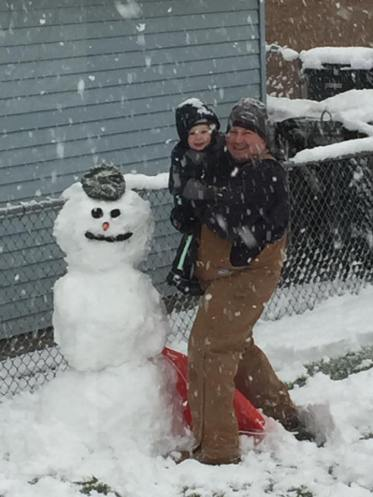 Daddy & Jimmy during the 1st snow fall